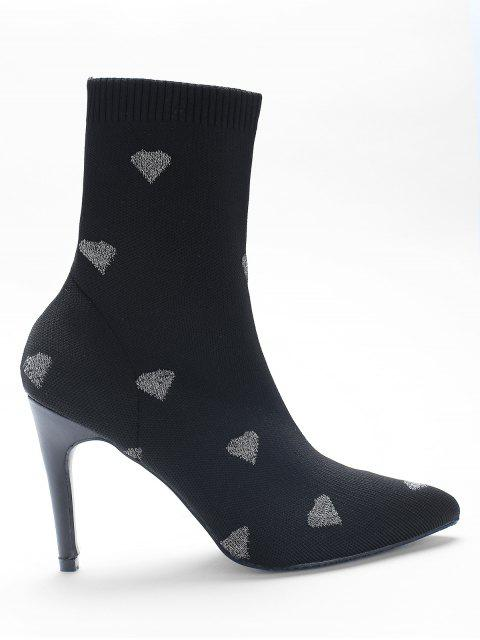 Heart Print Stiletto Heel Pointed Toe Sock Boots - Plata EU 39 Mobile