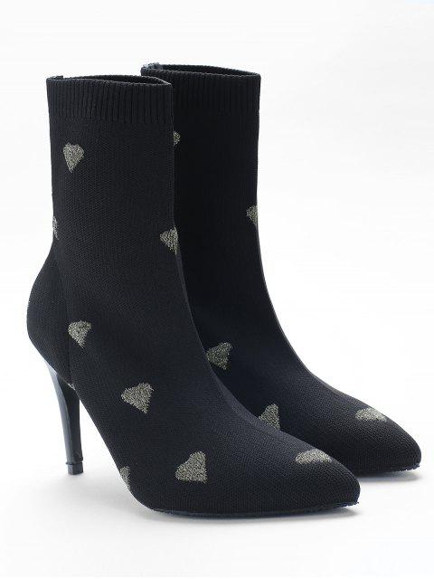 Heart Print Stiletto Heel Pointed Toe Sock Boots - Ouro UE 39 Mobile
