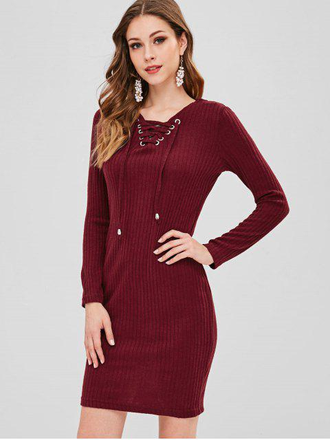 hot Lace-up Knit Dress - FIREBRICK M Mobile