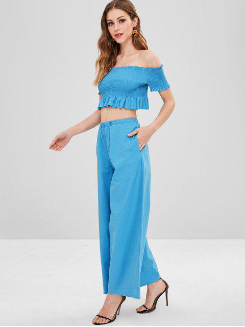 trendy ZAFUL Smocked Crop Top and Loose Pants Set - DEEP SKY BLUE L Mobile