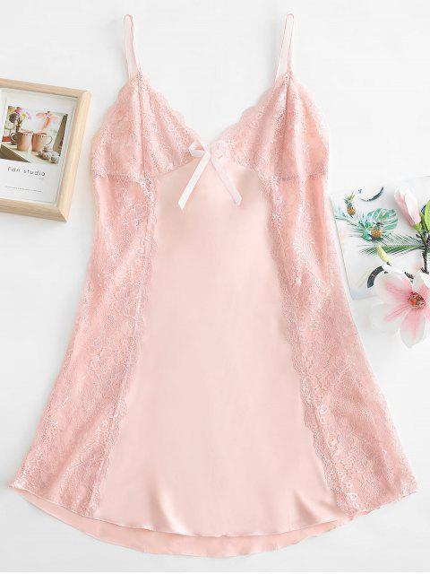 shops Lace Insert Slip Bowknot Pajama Dress - LIGHT PINK XL Mobile