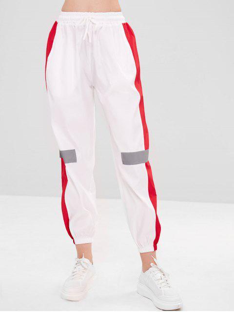 trendy Lightweight Color Block Joggers Pants - WHITE 2XL Mobile