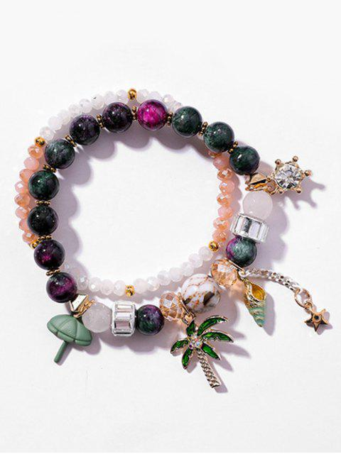 online Layered Beaded Rhinestone Star Pattern Bracelet - DARK GREEN  Mobile