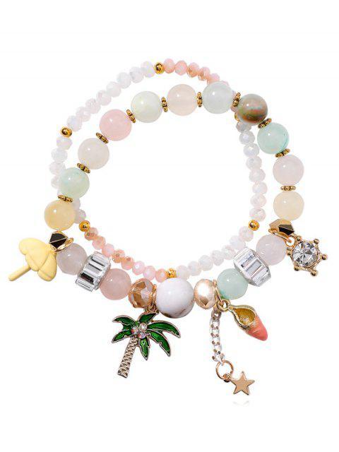 shop Layered Beaded Rhinestone Star Pattern Bracelet - MULTI  Mobile