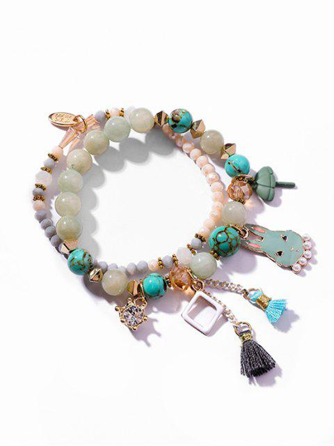 buy Layered Rhinestone Rabbit Pattern Tassel Bracelet - LIGHT AQUAMARINE  Mobile