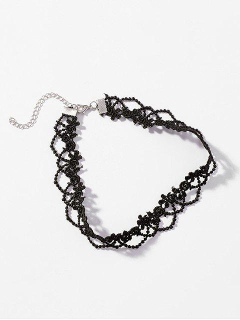 women Lace Flower Pattern Hollow Choker Necklace - BLACK  Mobile