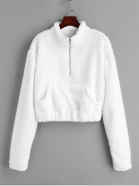 Sweat-shirt Teddy Fourré à Demi-Zip en Fausse Fourrure - Blanc L Mobile