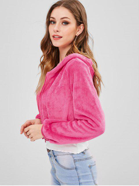 fancy ZAFUL Zip Up Crop Fluffy Hooded Jacket - ROSE RED XL Mobile