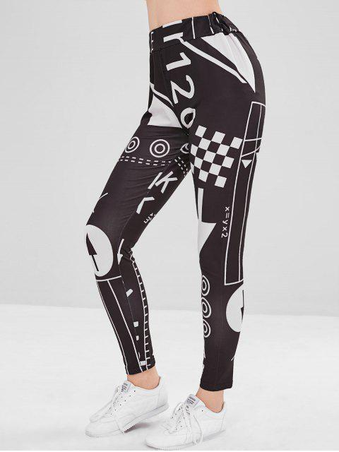 trendy Mixed Print Graphic Tights Leggings - BLACK S Mobile