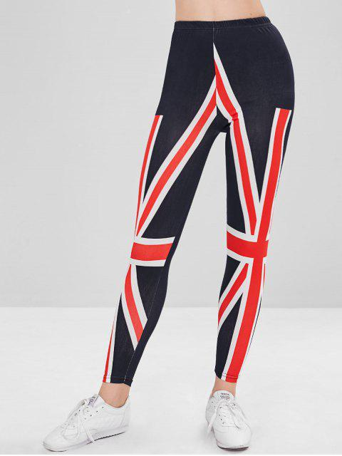 chic Union Jack Print Mid Waisted Leggings - MIDNIGHT BLUE ONE SIZE Mobile