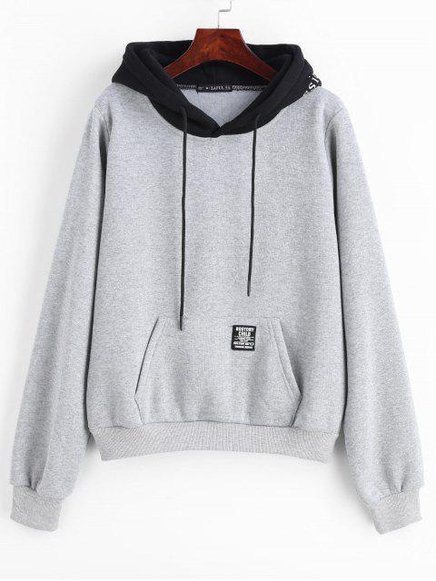 ZAFUL Pouch Pocket Fleece Pullover Sweat à capuche - Gris Clair L Mobile