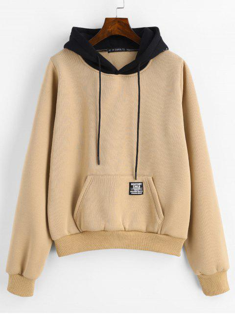 ZAFUL Pouch Pocket Fleece Pullover Sweat à capuche - Marron Camel L Mobile
