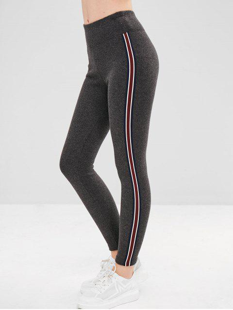 sale Stripe Trim Fleece Lined Thick Leggings - CARBON GRAY ONE SIZE Mobile