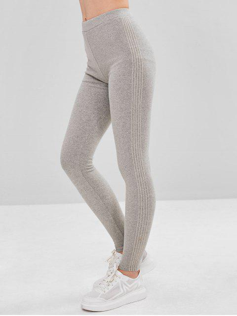 online Stripe Trim Fleece Lined Elastic Leggings - LIGHT GRAY ONE SIZE Mobile
