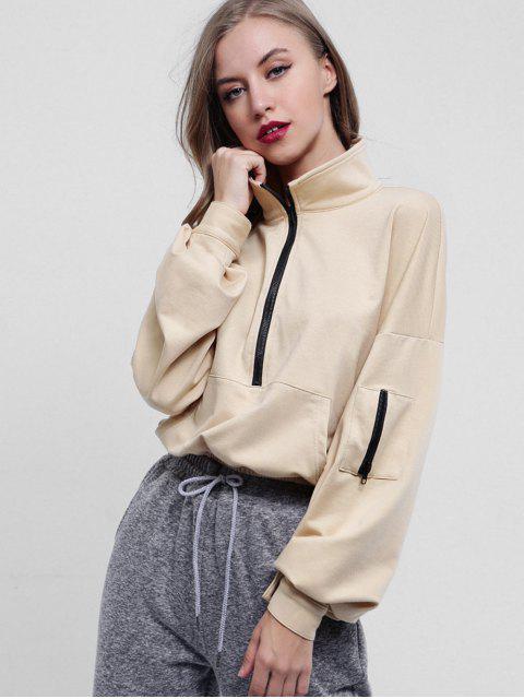 best Half Zip Kangaroo Pocket Sweatshirt - TAN L Mobile