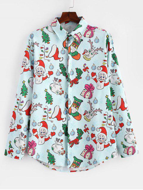 Camisa de Navidad de manga larga con estampado de regalos de Santa Candy - Azul Claro 3XL Mobile