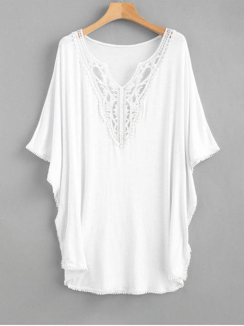 ladies Lace Panels Kaftan Top - WHITE ONE SIZE Mobile