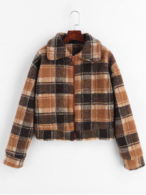 buy Fluffy Faux Fur Short Plaid Coat - MULTI M Mobile