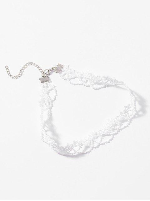 ladies Lace Flower Pattern Hollow Choker Necklace - WHITE  Mobile