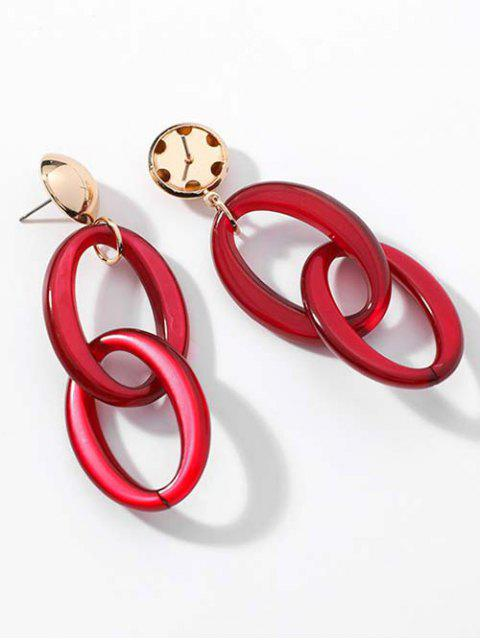 fancy Minimalist Geometric Hollow Earrings - RED  Mobile
