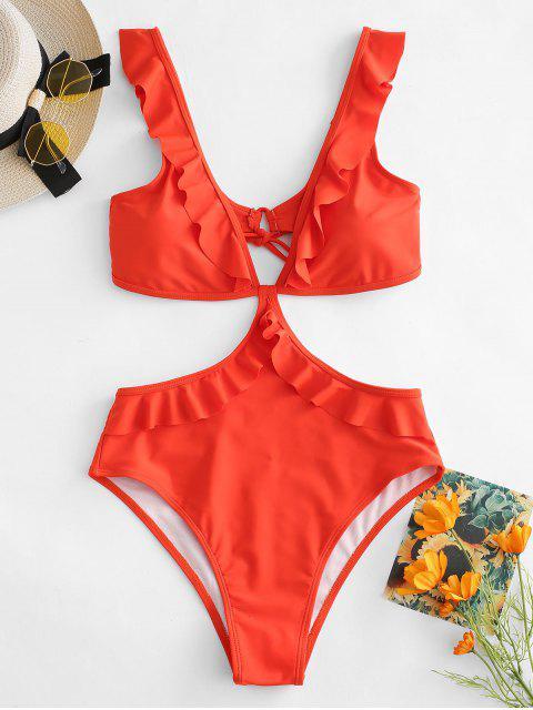 Costume Da Bagno A Vita Alta Senza Schienale Con Volant Di ZAFUL - Arancione brillante L Mobile