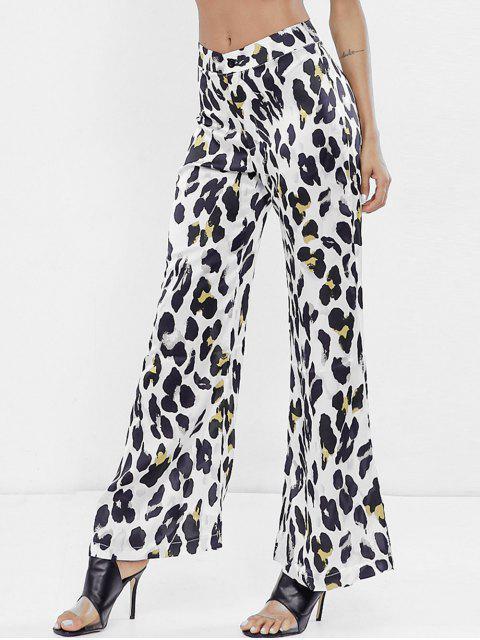 Pantalones de pierna ancha de leopardo de cintura alta - Blanco L Mobile