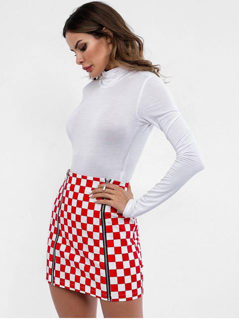 new Zippers Mini Checkered Skirt - RED S Mobile
