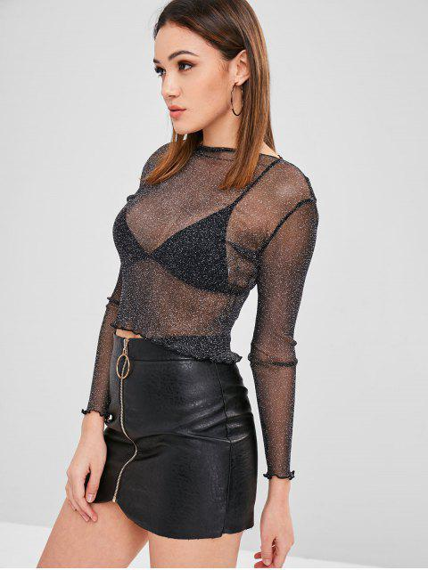 affordable See Through Shiny Top - BLACK S Mobile