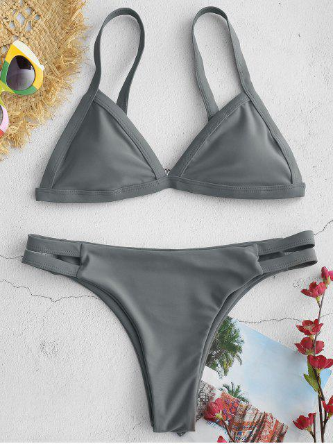 hot ZAFUL Hollow Out Low Rise Bikini Set - GRAY M Mobile