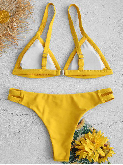 new ZAFUL Hollow Out Low Rise Bikini Set - GOLDEN BROWN M Mobile