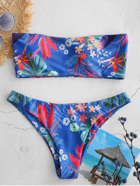 trendy ZAFUL Mixed Print Bandeau Bikini Set - MULTI M Mobile