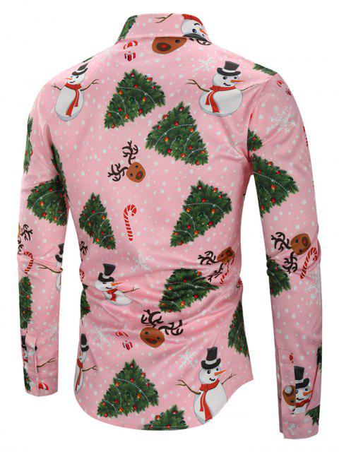 new Christmas Snowmen Snoeflakes Tree Candy Print Shirt - PINK 3XL Mobile