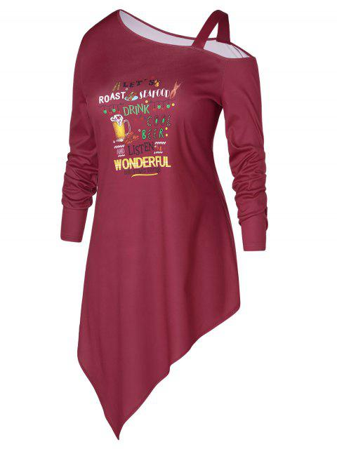 online Plus Size Asymmetric Letter Print Graphic Christmas T-shirt - RED WINE 3X Mobile