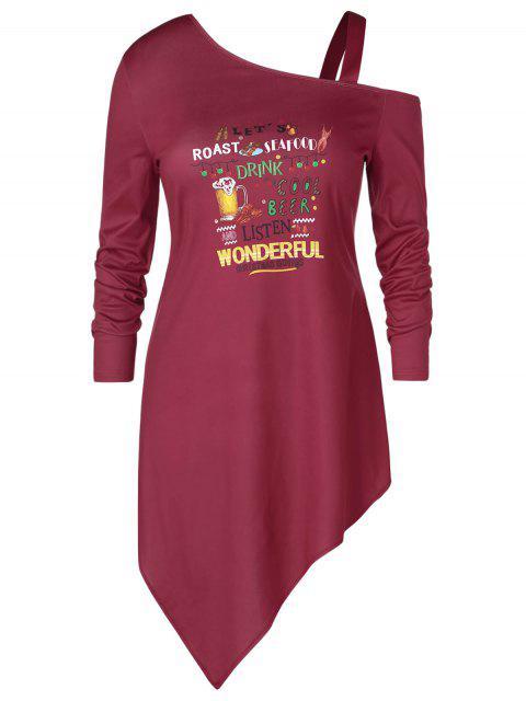 Plus Size Asymmetric Letter Print Graphic Christmas T-shirt - 紅酒 L Mobile
