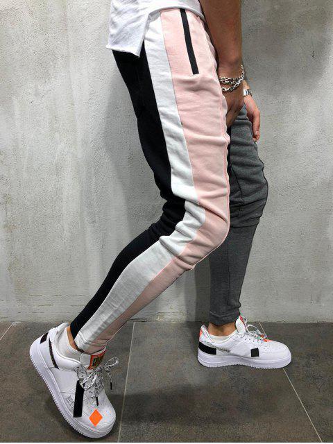 fashion Color Block Pockets Drawstring Slim Fit Track Pants - LIGHT PINK 3XL Mobile