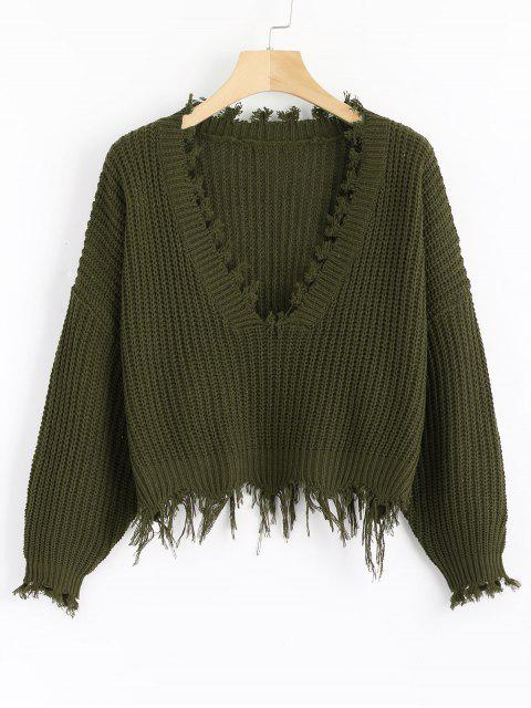 lady Loose Ripped V Neck Sweater - ARMY GREEN ONE SIZE Mobile