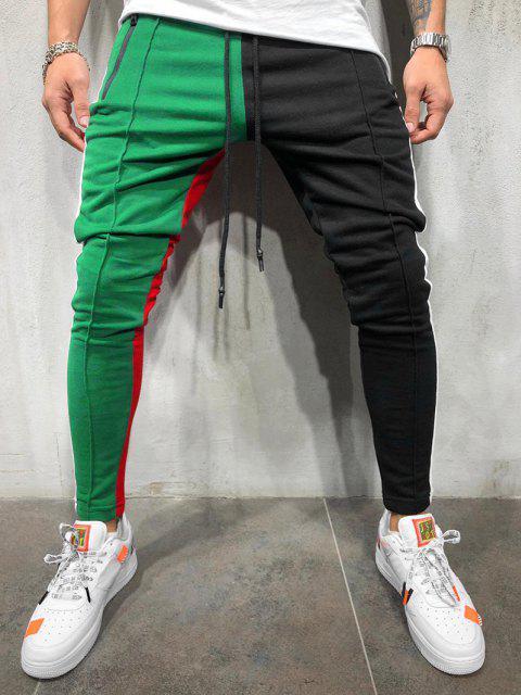 Pantalones Ajustados Slim Fit Diseño Bloque Color - Verde 3XL Mobile
