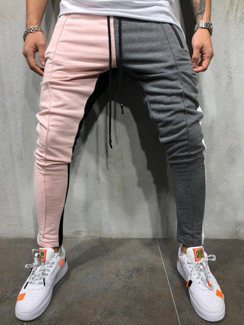 Pantalones Ajustados Slim Fit Diseño Bloque Color - Rosa claro L Mobile