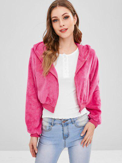 ZAFUL Zip Up Crop Fluffy Hooded Jacket - Rose Red Xl