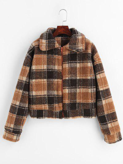 Fluffy Faux Fur Short Plaid Coat - Multi L