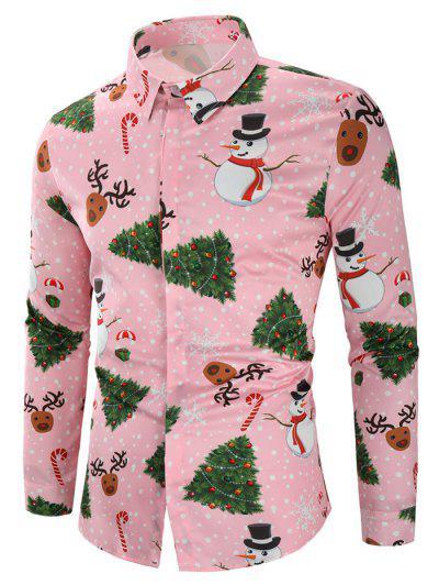 Camisa Do Impressão Dos Doces Da Árvore Do Floco De Neve Do Boneco - Rosa L