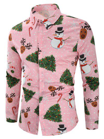 Christmas Snowmen Snoeflakes Tree Candy Print Shirt - Pink M