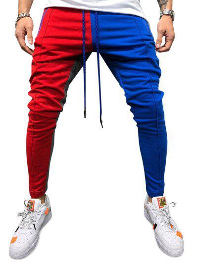 Color Block Pockets Drawstring Slim Fit Track Pants - Red Wine 3xl