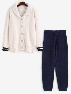 Streifen gestrickte Knöpfe Strickjacke Fuzzy Pyjamas Set