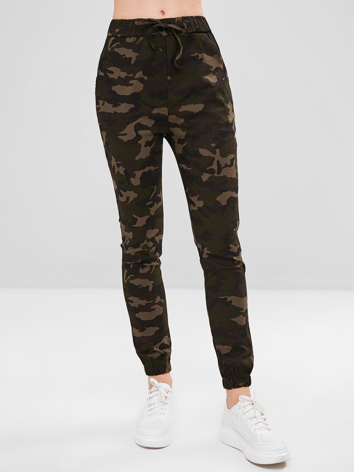 Drawstring Jogger Camouflage Pants, Woodland camouflage