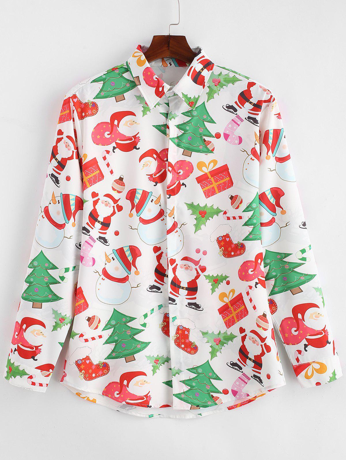 Santa Gift Snowmen Print Christmas Shirt фото