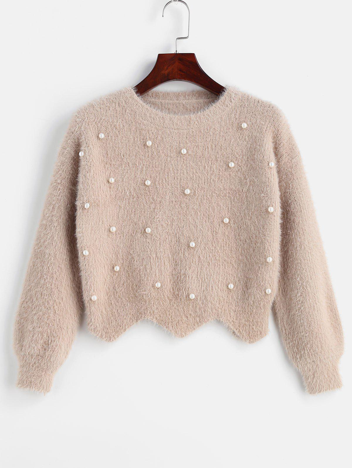 Scallop Beaded Fuzzy Sweater фото