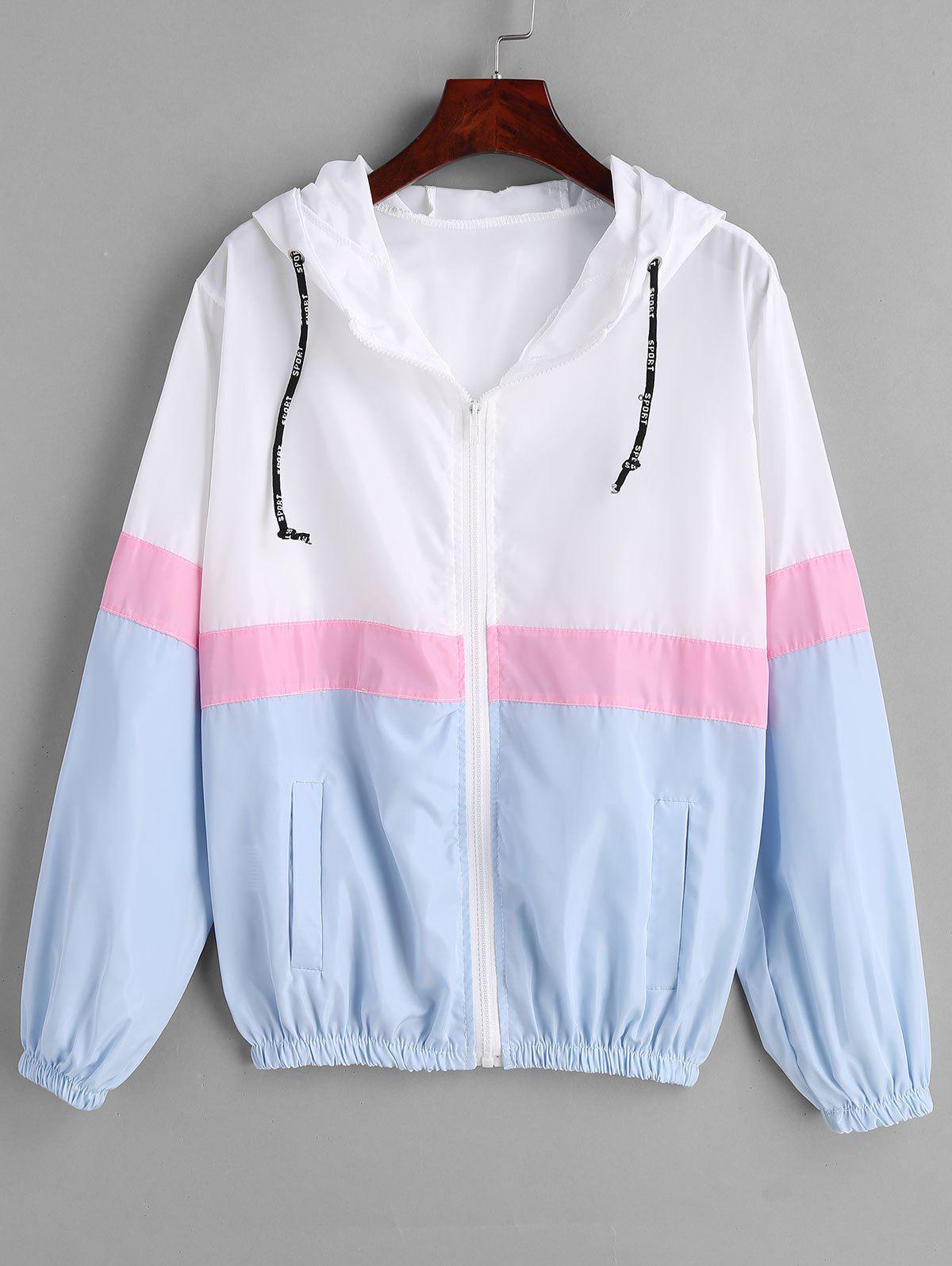 Color Block Windbreaker Hooded Jacket, Multi-a