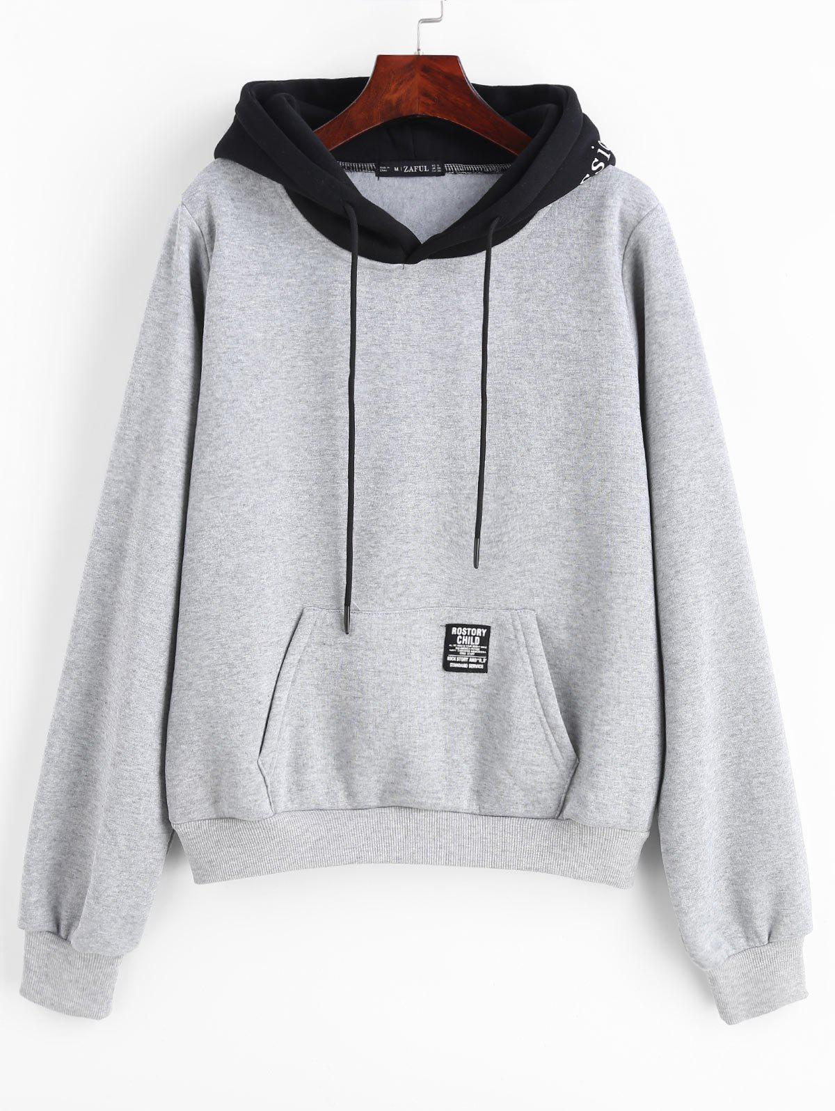 ZAFUL Pouch Pocket Fleece Pullover Hoodie, Light gray