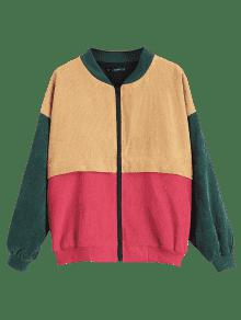 47 Off 2019 Zaful Patchwork Corduroy Jacket In Multi L Zaful